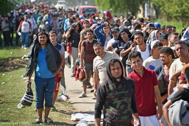 Menekültek érkeznek a horvátországi Tovarnikba 2015. szeptember 18-án.