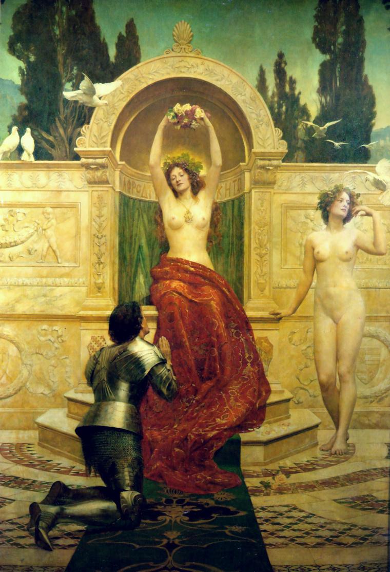 John Collier pre-raphaelita festménye 1901-ből: A Venusbergben