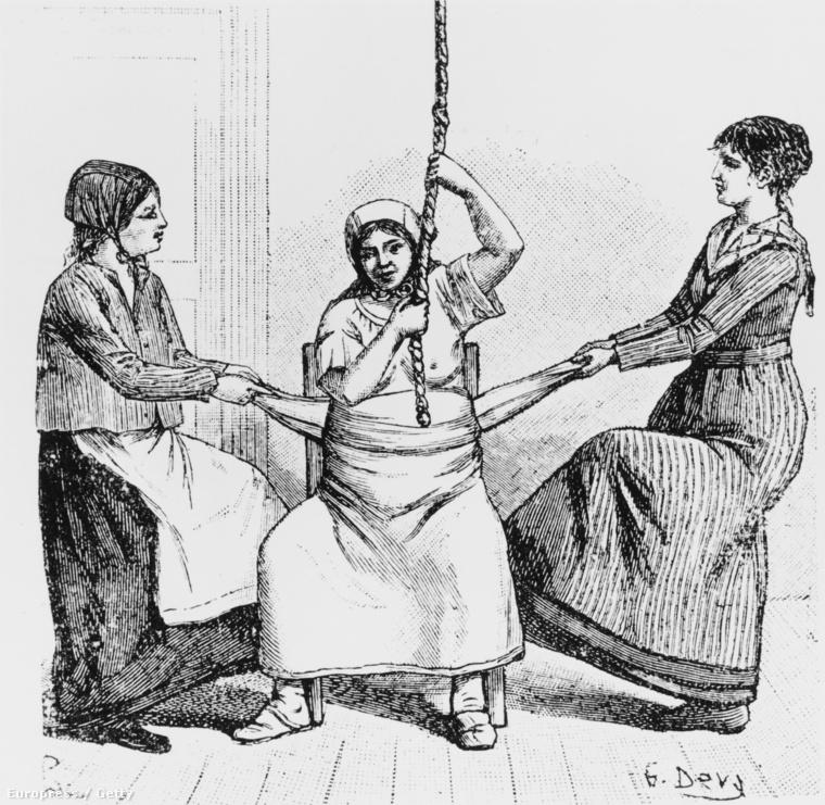 Két bába segít szülni egy nőnek (Kalifornia, kb. 1840)