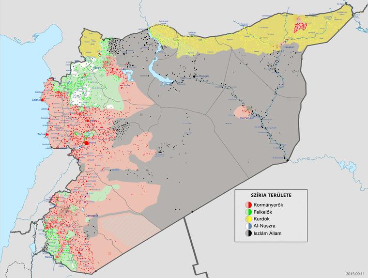 Szíriát uraló csoportok területi elhelyezkedése